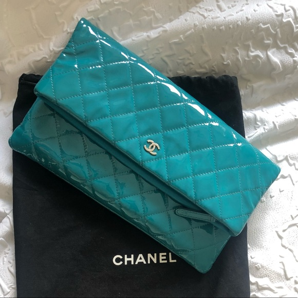 d5f1da6ef600 CHANEL Bags | Turquoise Patent Leather Clutch | Poshmark